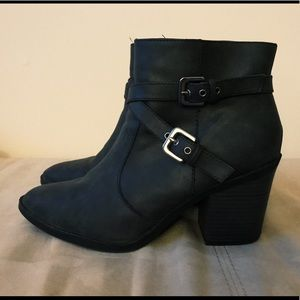 Shoes - Gray heeled ankle boots.